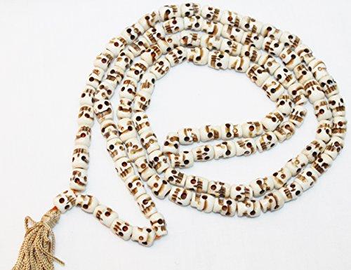 F686 Handmade Tibetan Bone Skull Beads 108 japa mala for meditation, yoga appro. 8mm beads