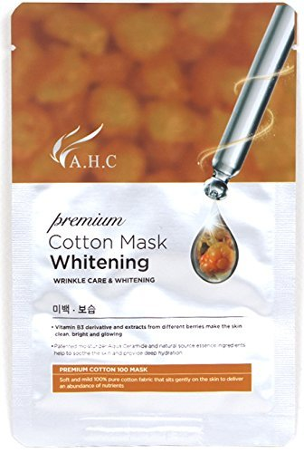 AHC 10 pcs Whitening Mask 28ml(1.4 oz), 100% Cotton,Hypoallergenic Test Completed, Premium cotton mask Whitening, A H C Korean Cosmetics-2017 New