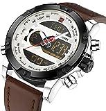 Multifunctional Digital Brown Leather LED Sport Men Watches White Military Men's Quartz Wrist Watch