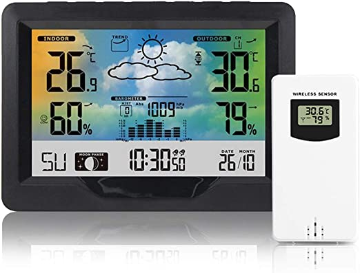 Humidity Monitor FOCHEA Weather Station with Outdoor Sensor Wireless Weather Station Indoor Outdoor Digital Thermometer Hygrometer with Digital Alarm Clock Barometer Weather Forecast Temperature