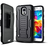 Galaxy S5 Case, Samsung Galaxy S5 Case, Starshop [Heavy Duty] Dual Layers Kickstand Case With [0.33m 9H Tempered Glass Screen Protector Included] and Locking Belt Clip (Black)