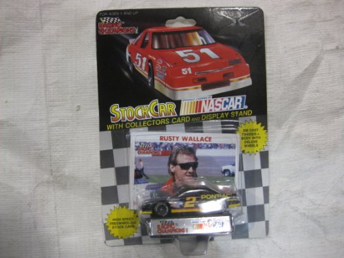 NASCAR #2 Rusty Wallace Pontiac Excitement / Mobil 1 Racing Team Stock Car With Driver's Collectors Card And Display Stand. Racing Champions Black Background Red Series 51 Car (Rusty Wallace Nascar Card)
