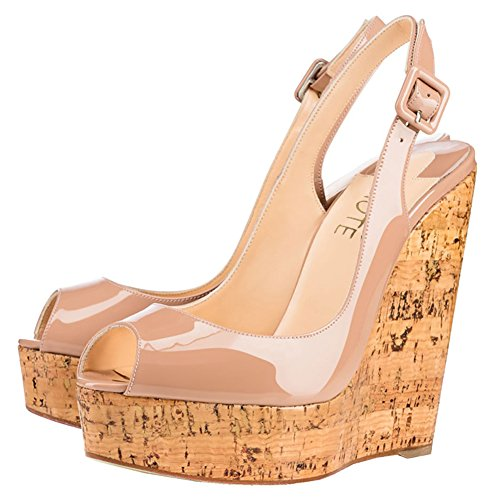 9b4744aeb09 MERUMOTE Women's Wedge Shoes Heeled Sandals High Platform Open Toe Ankle  Strap Sandals Summer Nude 7 US