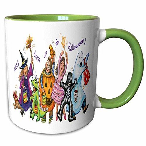(3dRose Anne Marie Baugh - Halloween - Cute Illustration Of Halloween Trick Or Treaters - 15oz Two-Tone Green Mug)