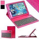 iPad mini Keyboard + Leather Case, Alpatronix KX101 Bluetooth iPad mini Keyboard Smart Case w/ Removable Wireless Keyboard, Folio Protection & Built-in Tablet Stand for iPad mini 4, 3, 2, 1 - (Pink)
