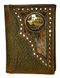 Custom Antique Brass Praying Cowboy Church Tri-Fold Wallet Hair on Hide Brown