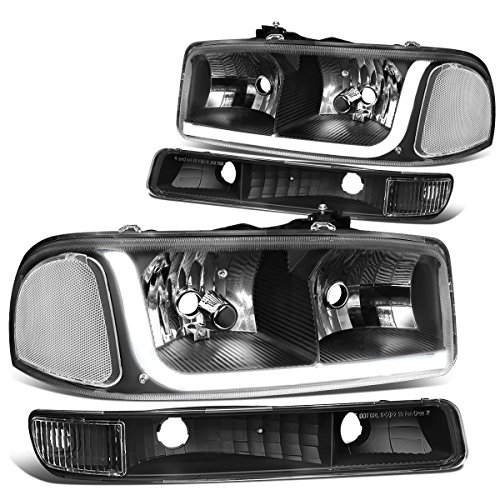 DNA MOTORING Black Housing Clear Corner HL-LB-SIERRA99-BK-CL1 4PCs LED DRL Strip Headlight+Bumper Lamp[99-07 GMC Sierra/Yukon]