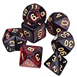EBOOT Polyhedral 7-Die Dice Set for Dungeons and Dragons with Black Pouch (Red Black)