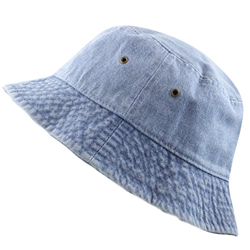 The Hat Depot Washed Cotton Denim Bucket Hat (L/XL, Denim Blue) (Blue Denim Bucket Hat)