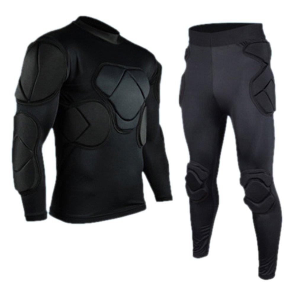 Set of 2 Long Sleeve and Long Pants Goalkeeper Clothes Elbow Pads Helmet Kneecaps