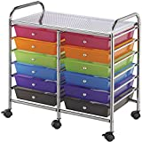 Multicolor 12-drawer Double-wide Storage Cart Ideal For Storing Large And Small Tools
