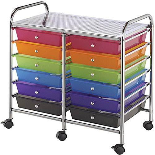 Multicolor 12-drawer Double-wide Storage Cart Ideal For Storing Large And Small Tools by Blue Hills Studio