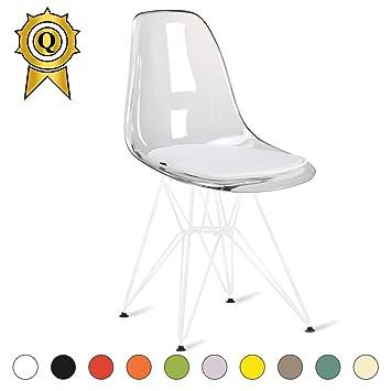 MOBISTYL Promo 1 X Chaise Design Inspiration Eiffel Pieds Acier Vernis Blanc Assise Transparent DSRW