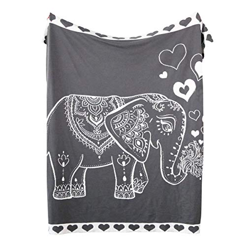 Sleepwish Cotton Knit Throw Grey and White Knitted Elephant Blanket Kids Boys Elephant Reversible Blanket School Nap Blanket 50