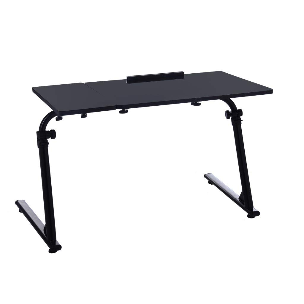OOEOO Home Office Desk Can Be Raised and Lowered Folding TV Tray (Black, 31.5 x 15.7x19.7-30 inches)
