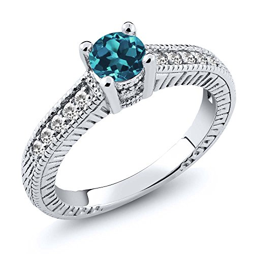 0.65 Ct Round London Blue Topaz and White Sapphire 925 Sterling Silver Women's Engagement Ring Sizes 5 to 9
