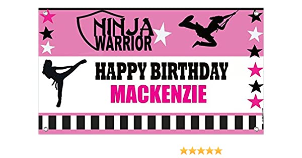 Ninja Warrior GIRL Sport Custom Birthday Banner - Personalize with your Name