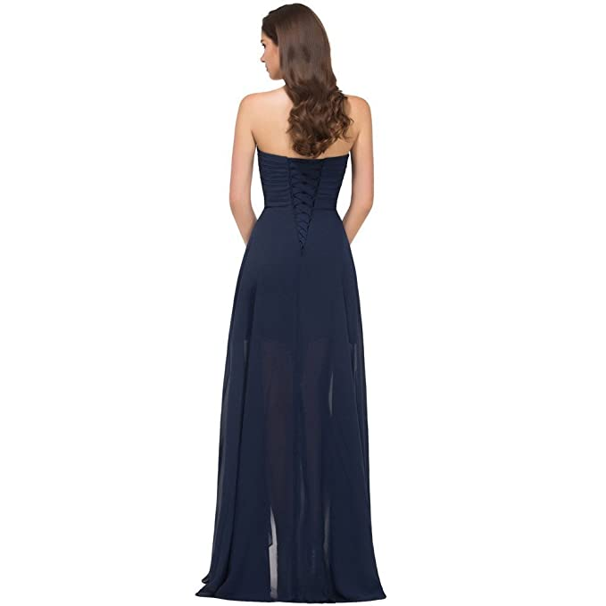 fabfafee8dcb Amazon.com: JoyVany High-Low Slit Prom Dresses Special Occasion Strapless  Party Formal Gown: Clothing