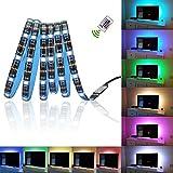 Glückluz Tiras de Luces LED RGB con Mando a Distancia USB Multicolor Retroiluminación Tiras de LED Kit Completo para Decoración del Partido Fiesta Cocina PC Escritorio Monitor Hogar 2M 5050 RGB 60 LEDs 24 Tecla IR Remoto