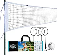 Franklin Sports Volleyball & Badminton Combo - Starter, Family, & Professio