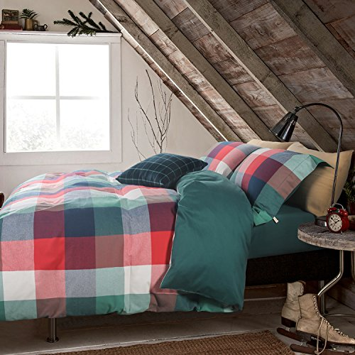 UFO Home 100% Cotton Flannel 3pc Duvet Cover Set, Yarn-dyed Bedding Set, 600 Thread Count High Percale, Red Green White Plaid, No Inside Filler, Button Close, Machine Washable (Queen, Symons-WL)