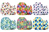 Mama Koala One Size Baby Washable Reusable Pocket Cloth Diapers, 6 Pack Nappies with 6 One Size Microfiber Inserts (Very Veggie)