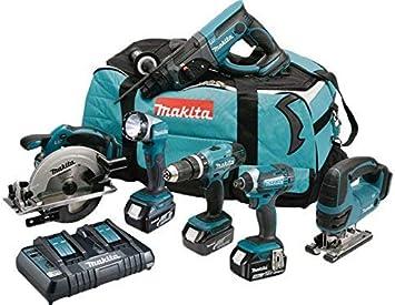 MAKITA Pack 6 machines DLX6068PT avec 3 batteries 18V 5Ah Li-ion ...