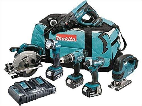 sac de transport et chargeur DC18RD MAKITA Pack 6 machines DLX6068PT avec 3 batteries 18V 5Ah Li-ion