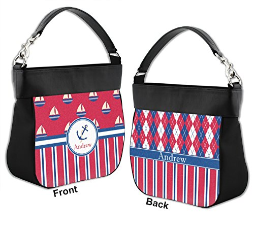 Sail amp; Front Genuine Trim w Stripes amp; Personalized Purse Back Boats Hobo Leather wagfSqwxr