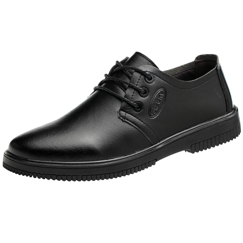 AGOWOO Mens Work Shoes Slip Resistant Food Service Chef Oxford, Black, 9.5 by AGOWOO