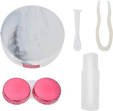 Estuche de remojo de lentes de contacto con patrón de mármol, Cuatro colores opcionales Estuche de viaje para lentes de contacto con estilo (nueva llegada 2019) (Color : Red): Amazon.es: Belleza