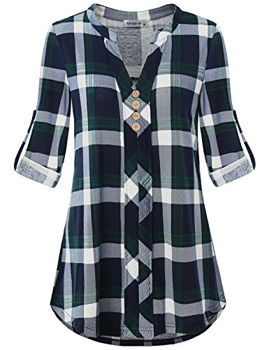MOQIVGI Plaid Tops Women,Long Sleeve Button 3/4 Polyester Youth Female Nice Blouse Split V Neck Classic Tartan Patterned Sweatshirt Tunic Henley Boutique Shirts Loft Clothes Blue Green Large