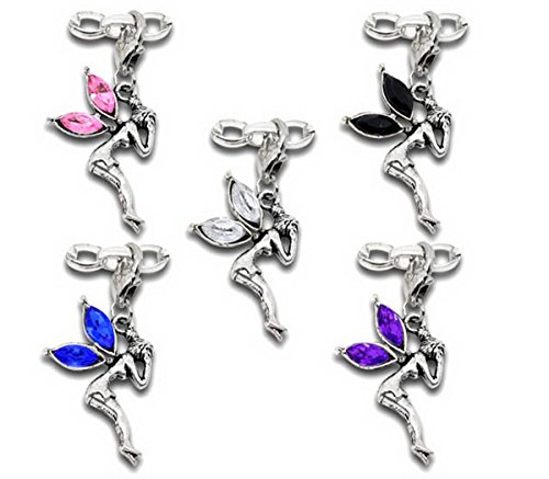Housweety 10 Mixed Fairy Clip On Charms. Fit Link Chain Bracelet - Fairy Bead