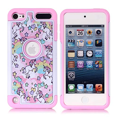 Crystal Generation Rubber Case (Apple iPod Touch 5,6th Case, iPod 7th Generation Case, Rainbow Unicorn Pattern Shockproof Studded Rhinestone Crystal Bling Hybrid Case Silicone Protective Armor for Apple iPod Touch 5 6th Generation)