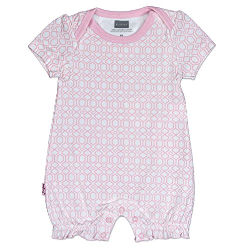Kushies Baby Girls Geo Print One-Piece Short Sleeve Romper Light Pink - 9 Mths