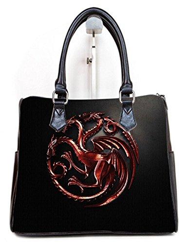 (Women Female Barrel Type Handbags Top Handle Bags Purse with House Targaryen-Game of Throne Print)