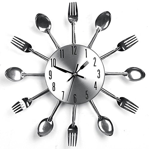 Braceus Modern Stainless Steel Knife Fork Spoons Wall Clock Analog Home Office Decor