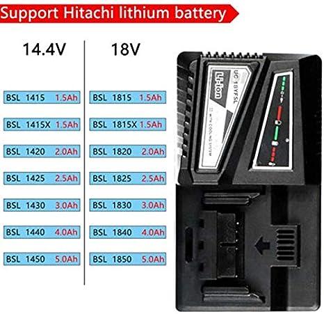 Negro Free size Goloth Cargador de Bater/ía Repuesto para Hitachi UC18YKSL 14.4Va 18V R/ápido Bater/ía LI-ION Cargador