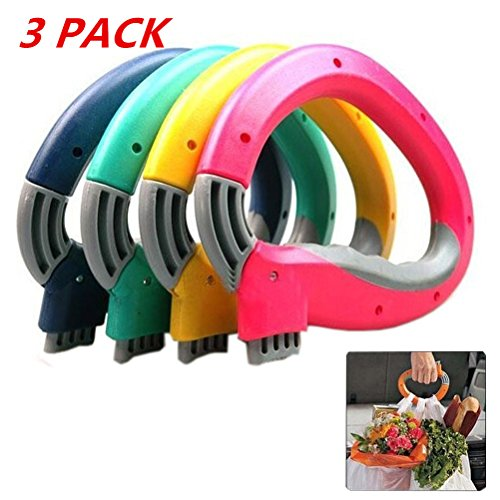 3 Pack Shopping Bag Handle Grip Home Trip Grips Shopping Grocery Bag Holder Carrier Lock Snap Hook Hanger Carry Handle Kitchen Tool