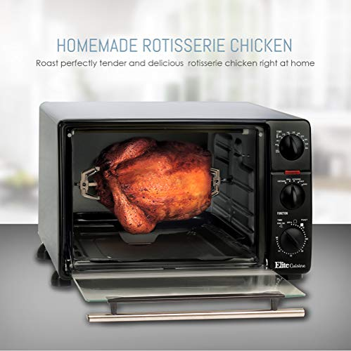 Elite Cuisine ERO-2008N Countertop Toaster Oven, 60-Min Timer with Stay-On Function Rotisserie, Bake, Grill, Broil, Roast, Toast, Keep Warm, 23L Capacity 23 L Black