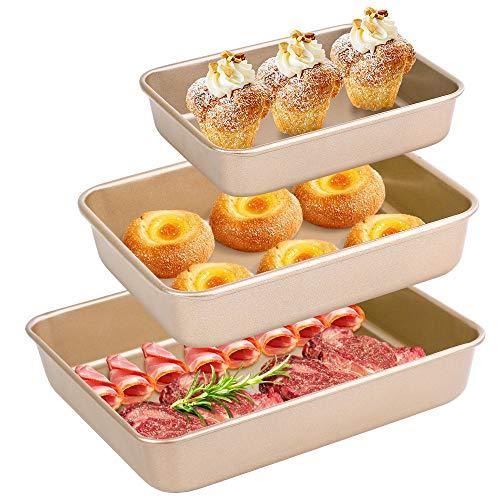 Amagabeli Deep Baking Pans Set Nonstick of 3 Pieces Bread Pan Cookie Sheets 9/11/13 inch Carbon Steel Baking Sheets…