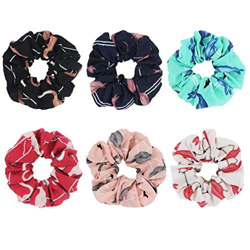 SUSULU Women Hair Scrunchies Elastic Ties Flamingo Printed Hair Band Ponytail Holder Girls Accessories Pack of 6 -  furling, H2199MXUS