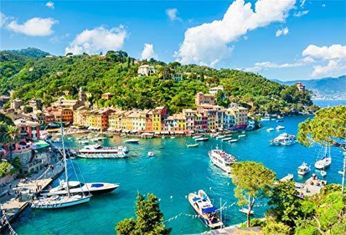 CSFOTO 7x5ft Background Portofino Luxury Village Landmark Panoramic Aerial View Photography Backdrop Sea Town Yacht Green Mountain Hay Port Romantic Vacation Photo Studio Props Polyester Wallpaper]()