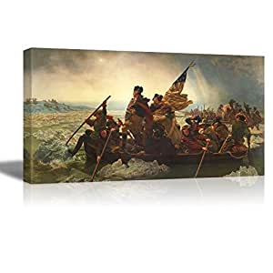 "wall26 Washington Crossing the Delaware by Emanuel Gottlieb Leutze, Canvas Wall Art Famous Fine Art Reproduction, World Famous Painting Replica, 18"" W x 36"" L"