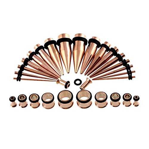 36Pcs Ear Gauge Stretching Kit Stainless Steel Tapers And Plugs Set Eyelet 14G 00G  Rose Goldtone