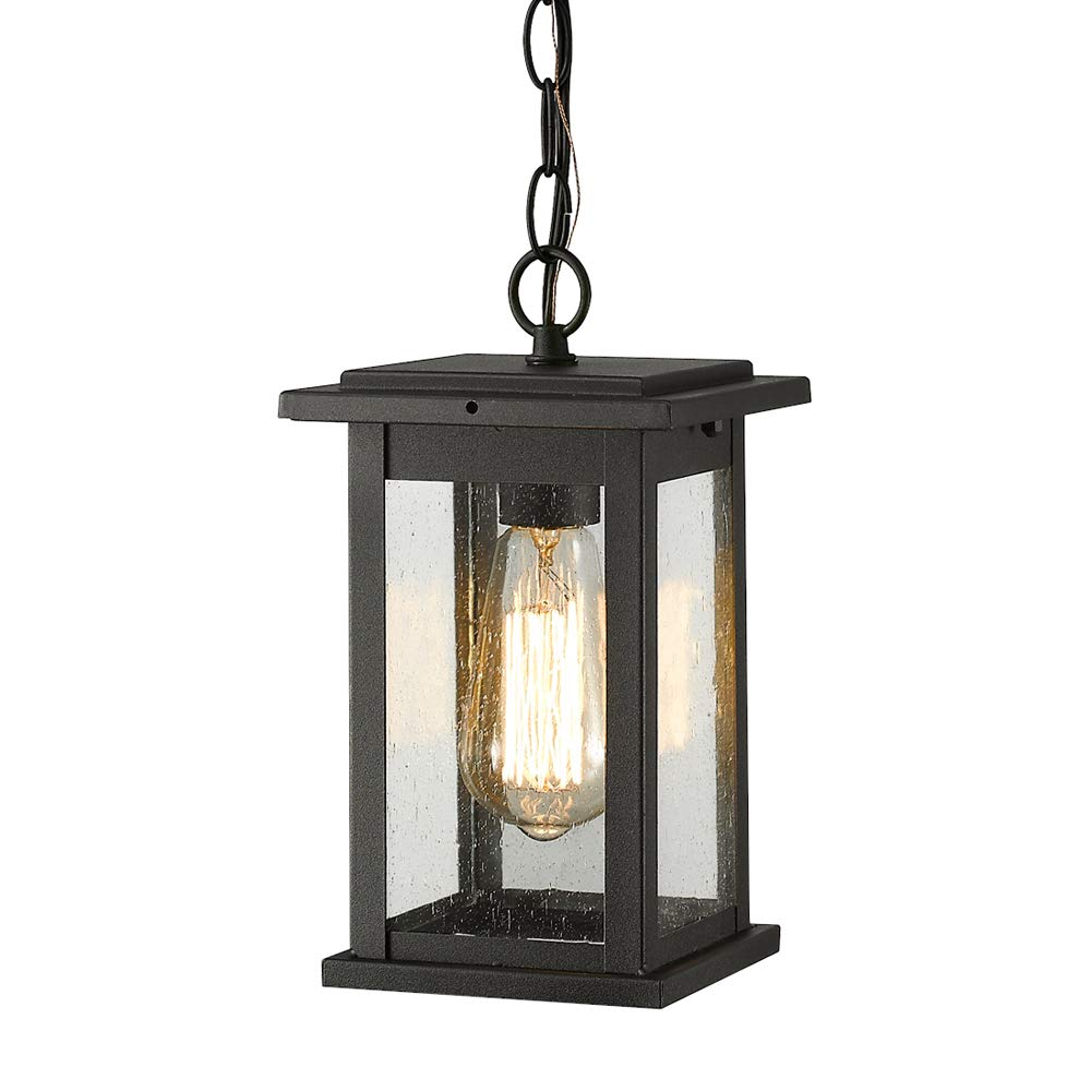 Emliviar Outdoor Pendant Lights for Porch, 1-Light Exterior Hanging Light Fixtures, Black Finish with Seeded Glass, 1803EW1-H by EMLIVIAR