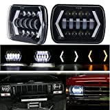 7x6'' Jeep Cherokee XJ Headlight, MOVOTOR 5x7 inch Seal Beam Led Headlight with White DRL/Amber Turn Signal Arrow Halo for Jeep MJ YJ Chevy S10