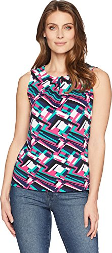 s Geo Printed Matte Jersey Top with Keyhole Neckline Fuchsia/Green/Ivory X-Large (Matte Jersey Top)