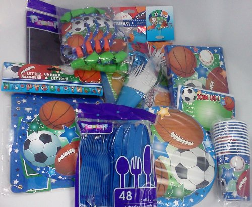 Sports Fan Birthday Party Package ~ Supreme Celebration Kit ~ Plates, Cups, Napkins, Table Cover, Invites, Forks, Soons, Knives, Centerpiece, Banner, & Blowout Favors ~ Pack Serves 12 (Plates Napkins Cups Invites)