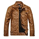 YANXH Autumn And Winter Men Retro Stand collar Washed leather jacket , yellow , l